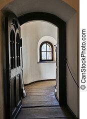 fönster, castel, medeltida, synhåll