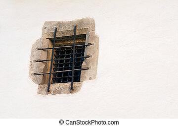 fönster, gammal, fängelse
