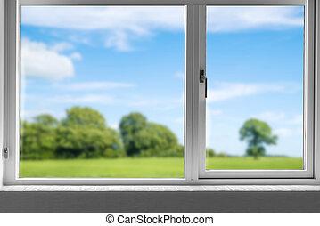 fönster, grön äng, stängd, synhåll