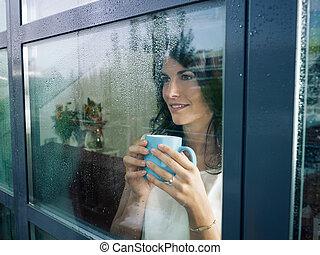 fönster, kvinna, stirrande