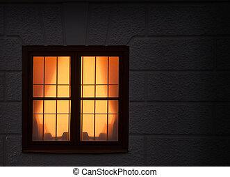 fönster, med, lätt