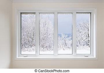 fönster, med, synhåll, av, övervintra trees
