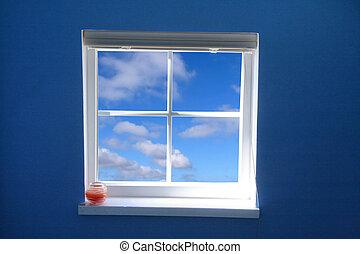 fönster, och blåa, sky, begrepp, av, frihet