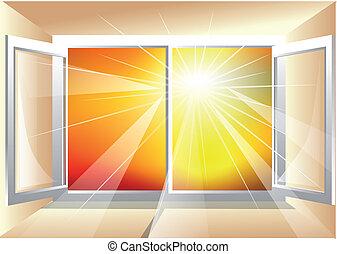 fönster, solljus