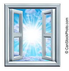 fönster, tillfälle