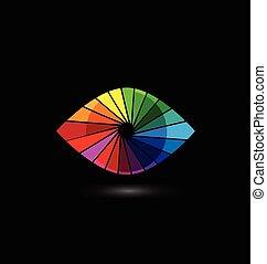 fönsterlucka, logo, ögon, vision, färgrik