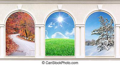 fönstren, av, kryddar