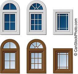 fönstren, brun, vit, vektor, plastisk