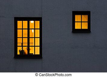 fönstren, en, gul, halvt