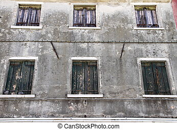 fönstren, grå, stängd, bakgrund, hus