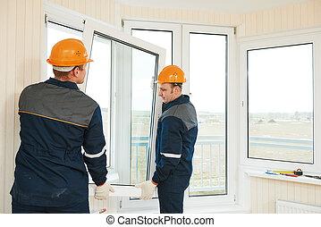 fönstren, installation, arbetare