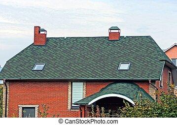 fönstren, röd, tak, kakelklädd vägg, grön, tegelsten logera, del