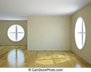 fönstren, rum, tom