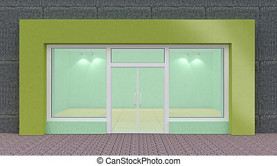 fönstren, stor, grön, tom, främre del, lager