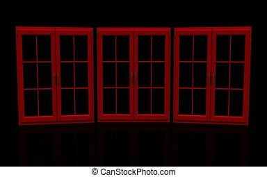 fönstren, svart röd, stängd, plastisk