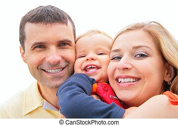 föräldrar, hålla, barn, på, räcker