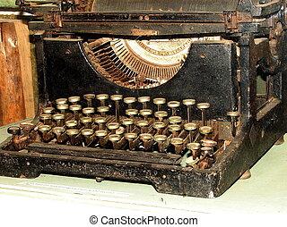 föråldrad, årgång, skrivmaskin