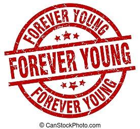 för alltid, grunge, stämpel, ung, runda, röd