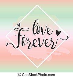 för alltid, kärlek, illustration., elements., vektor, design