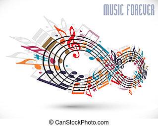 för alltid, musik, begrepp, oändlighet, symbol, gjord, med,...
