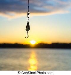 för, solnedgång, insjö fiska