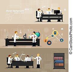 föra, laboratorier, forskare, forska