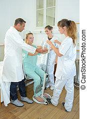 förbättring, in, fysikalisk terapi