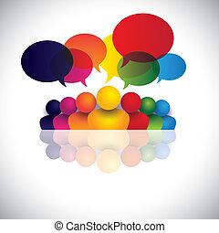 förbindelse, ämbete folk, kommunikation, diskussioner, barn, personal, &, media, också, anställd, möte, lurar, växelverkan, konferens, representerar, grafisk, prata., talande, vektor, social, eller