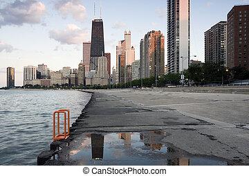 förbluffande, avsluta, dag, chicago