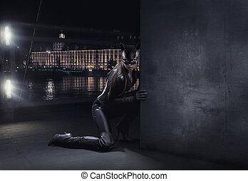förbluffande, catwoman, jakt, om natten