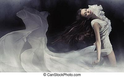 förbluffande, foto, av, sensuell, brunett, dam