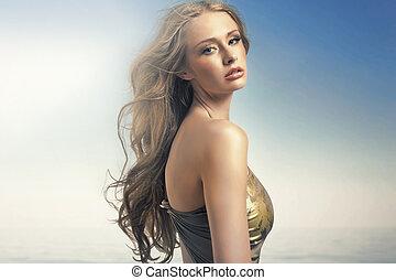 förbluffande, kvinna, blondin, läpp, sensuell