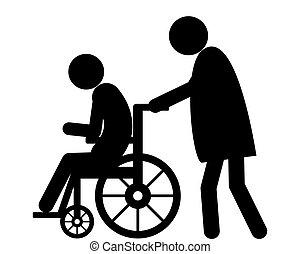 förbrukare, kvinna, gammal, stol, puffar, hjul