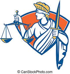 förbunden, holdingen, vägar, rättvisa, svärd, dam