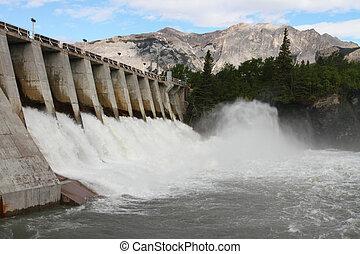 fördämning, hydro elektriska, utskov