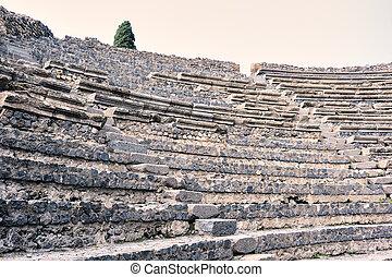 fördärvar, av, forntida, amfiteater