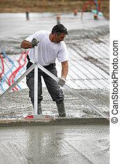 fördelning, man, cement, våt