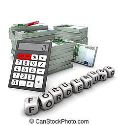 Förderung Euroscheine - Euroscheine mit einem Taschenrechner...