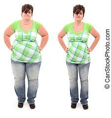före och efter, övervikt, 45, gammalt år, kvinna