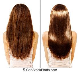 före och efter, skadat, hår, behandling