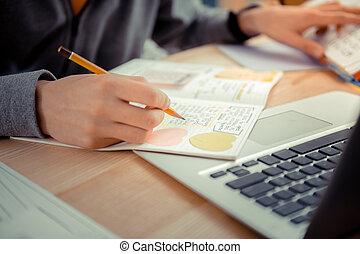 föreläsning, noteringen, video, student, skrift