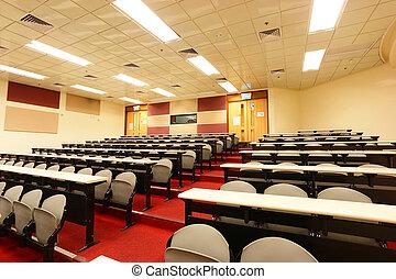 föreläsning, rum, av, universitet