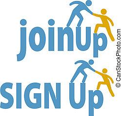 förena, folk, uppe, underteckna, medlem, hjälper, grupp, ikon