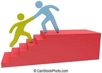 förena, hjälp, folk, uppe, hand, trappa