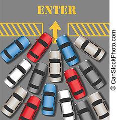 förena, komma in, trafik, plats, upptaget, bilar