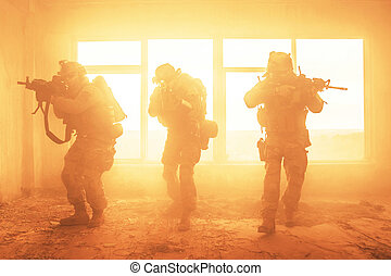 förenat angiver armé, skogvaktare, i aktion