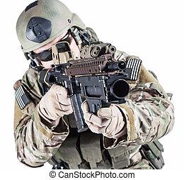 förenat angiver armé, skogvaktare, med, handgranat...