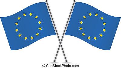 förening, europe, flags.