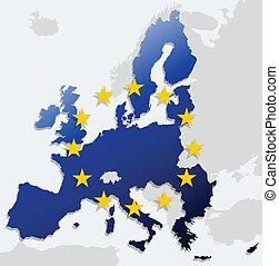 förening, karta, europe