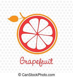förenklat, silhuett, av, grapefrukt